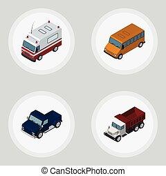 isométrique, ensemble, elements., voiture, fret, inclut, aussi, vecteur, suv, pick-up, camion, objects., autre, premiers secours