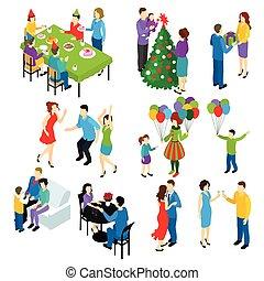 isométrique, ensemble, fête, gens