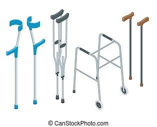 isométrique, ensemble, fauteuil roulant, illustration., ...