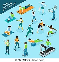 isométrique, ensemble, gens, aérobie, fitness, icône