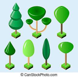 isométrique, ensemble, illustration., isolé, arbres, formes, vecteur, arrière-plan vert, divers, blanc