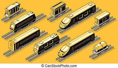 isométrique, ensemble, industrie, vecteur, chemin fer, éléments