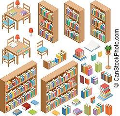 isométrique, ensemble, livres, bibliothèque, meubles