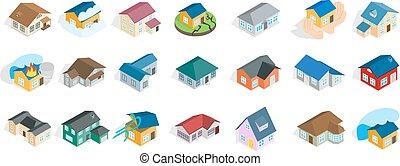 isométrique, ensemble, maison, moderne, style, icône