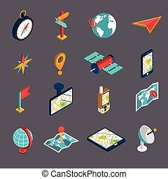 isométrique, ensemble, navigation, icône