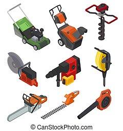 isométrique, ensemble, pouvoir électrique, isolé, pelouse, illustration, faucheur, power-planer, équipement, vecteur, jig-saw, fond, construction, circular-saw, outils, blanc, grass-cutter