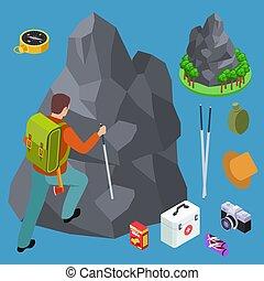 isométrique, ensemble, randonnée, equipments, vecteur, escalade, rocher