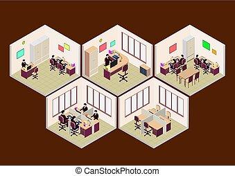 isométrique, ensemble, salle, bureau
