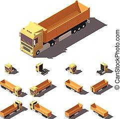 isométrique, ensemble, semi-remorque, culbuteur, vecteur, camion, icône