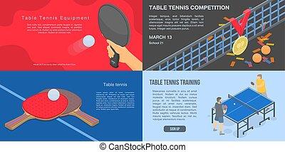 isométrique, ensemble, tennis, style, table, bannière, jouer