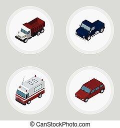 isométrique, ensemble, voiture, elements., voiture, inclut, aussi, premiers secours, vecteur, fret, camion, objects., autre, sedan
