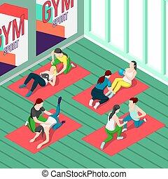 isométrique, entraîneurs, fond, fitness
