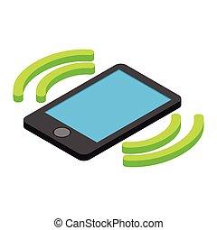 isométrique, entrant, appel téléphonique, 3d, icône