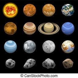 isométrique, espace, ensemble, style, planètes, icône