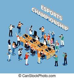 isométrique, esports, championnat, composition