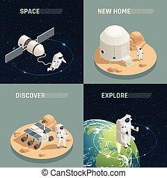 isométrique, exploration spatial, 4, icônes