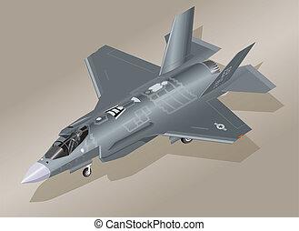 isométrique, f-35, avion combattant