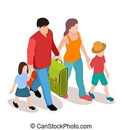 isométrique, famille, deux, illustration, vecteur, voyager, ...