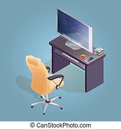 isométrique, fauteuil, informatique, table, icon., dessin animé