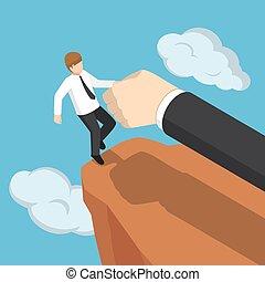 isométrique, fermé, aide, cliff., grande main, automne, pas, homme affaires