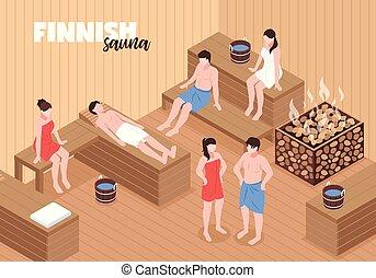 isométrique, finlandais, illustration, sauna