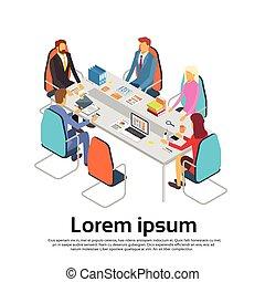 isométrique, fonctionnement, bureau affaires, gens, discuter, espace, businesspeople, bureau, copie, réunion, 3d