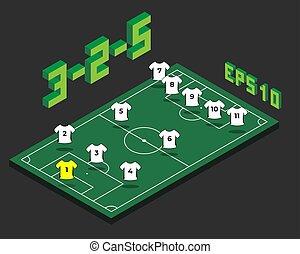isométrique, formation, football, field., 3-2-5
