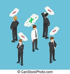 isométrique, foule, gens, pensée, positif, négatif, homme affaires