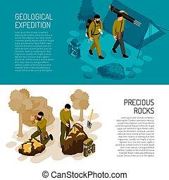isométrique, géologue, bannières