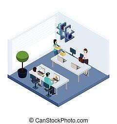 isométrique, gens bureau, environnement, coworking, bannière