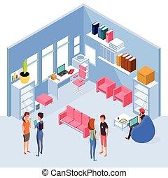 isométrique, gens bureau, informatique, espace de travail, interior., maison, 3d, meubles