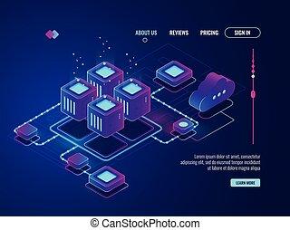 isométrique, gestion réseau, réseau, base données, concept, salle, centre, topology, conncetion, internet, serveur, données, icône