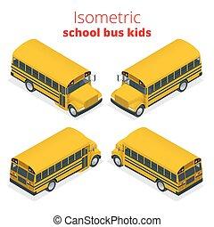 isométrique, gosses, transport, autobus, automobile., école, jaune, isolé, arrière-plan., vecteur, illustration, étudiant, blanc, ou, transport, pupille