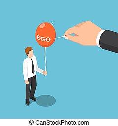 isométrique, grand, balloon, aiguille, usage, main, moi, détruire, homme affaires