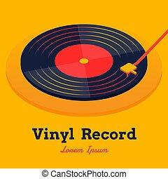 isométrique, graphique, jaune, enregistrement, vecteur, musique, vinyle, fond