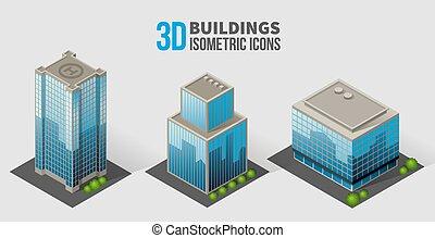 isométrique, gratte-ciel, verre, arbres, bâtiments, béton, vecteur