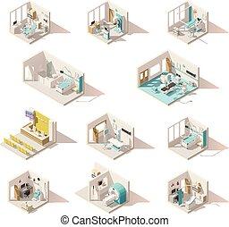 isométrique, hôpital, poly, vecteur, salles, bas