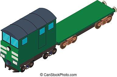 isométrique, icône, ferroviaire, flatcar, style