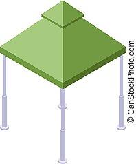 isométrique, icône, gazebo, style, vert