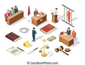 isométrique, icône, vecteur, droit & loi, ensemble, illustration, justice