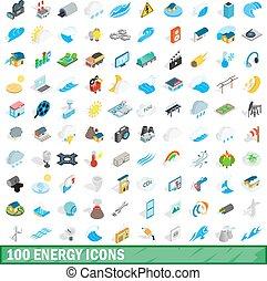 isométrique, icônes, ensemble, énergie, style, 100, 3d