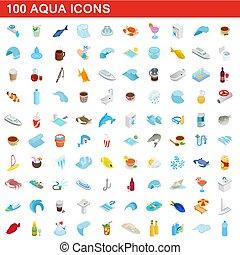isométrique, icônes, ensemble, eau, style, 100, 3d