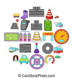 isométrique, icônes, ensemble, fixer, style, route