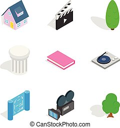 isométrique, icônes, ensemble, maison, style, concevoir