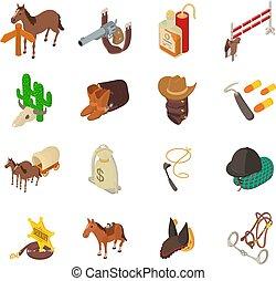 isométrique, icônes, ensemble, ouest, style, sauvage