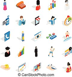 isométrique, icônes, ensemble, ouvrier, style, nouveau