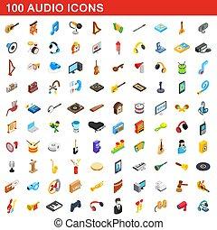 isométrique, icônes, ensemble, style, 100, audio, 3d