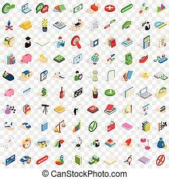 isométrique, icônes, ensemble, style, 100, droit & loi, 3d