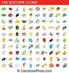 isométrique, icônes, ensemble, style, 100, football, 3d