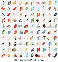 isométrique, icônes, ensemble, style, 100, musical, 3d